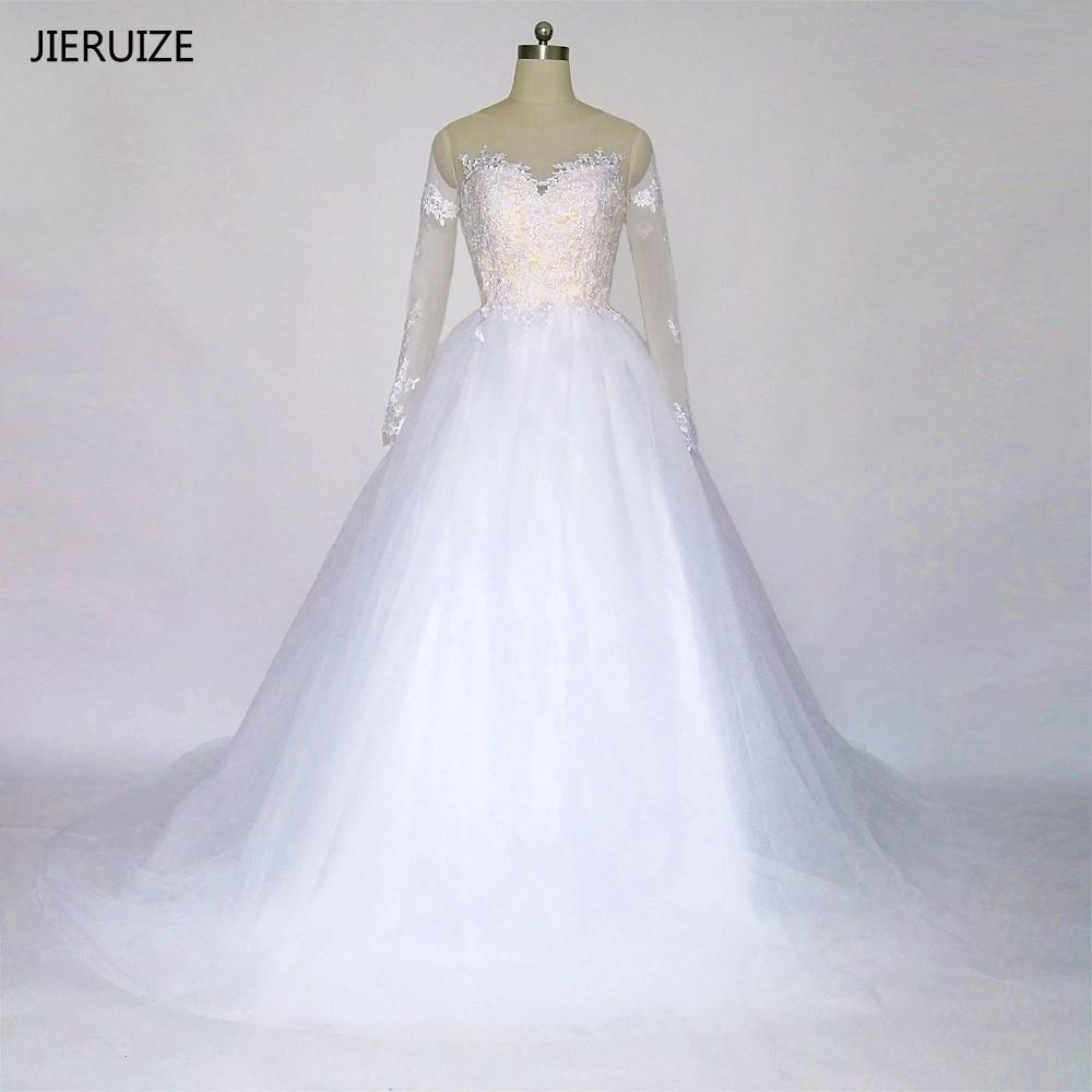 JIERUIZE Vit Vintage Lace Appliques Lång Ärmar Bröllopsklänningar Bollfärg Rygglösa Bröllopsklänningar Kappa Mariee