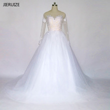 JIERUIZE White Vintage Lace Appliques Long Sleeves Wedding Dresses Ball Gown Backless Wedding Gowns robe de mariee