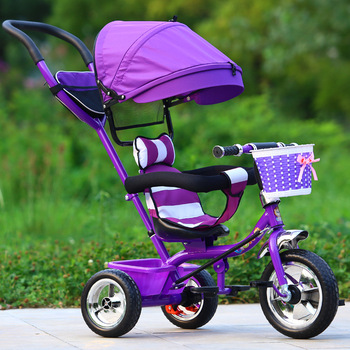 Three Wheel Baby Stroller Children's Tricycle Child Trike Push Rod Adjustable  Bicycle Umbrella Cart 18M-6Y