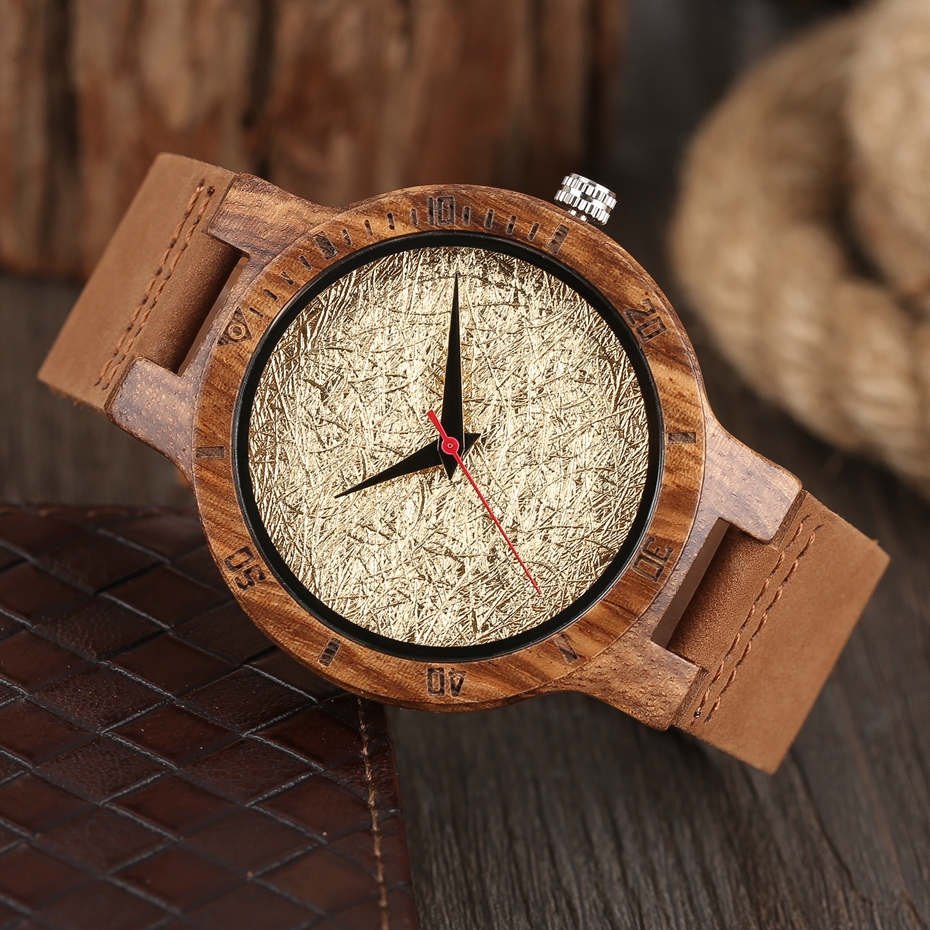 Unique Stripes Lines Dial Wooden Watch Mens Bamboo Creative Quartz Clock Genuine Leather Bangle Reloj de madera 2017 New Fashion  (9)
