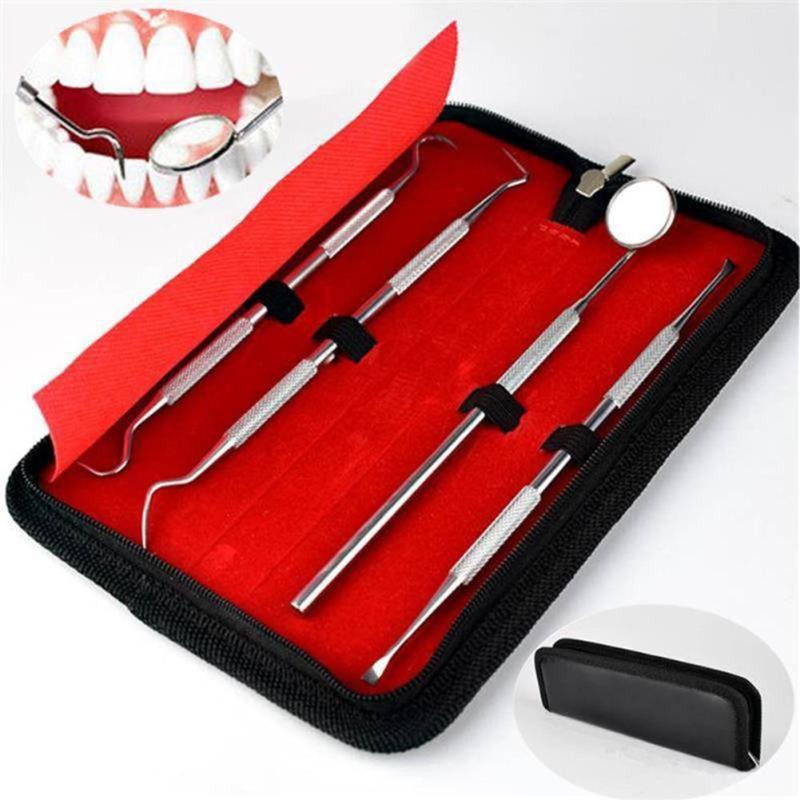 4pcs/set Stainless Steel Oral Clean Kits Sets Mouth Mirror Oral Probe Tweezers Examination Dental Instruments Tool Oral Hygiene dental oral photographic black background board and 4pcs 4pcs stainless steel mirror set