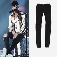 2017 Fear Of God ankle zipper ripped jeans Justin Bieber black skinny destoryed men jeans streetwear Kanye West