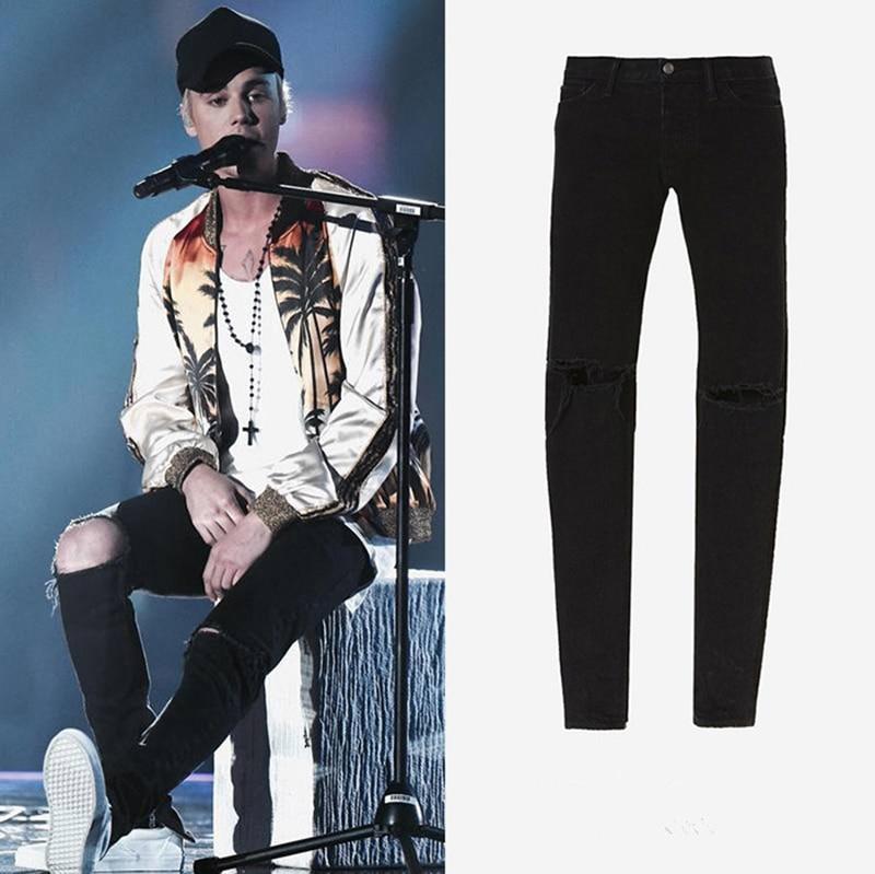 Maigre Hommes Dieu Streetwear 2017 Kanye Fermeture De Déchiré Justin Peur Jeans Bieber Éclair Noir West Cheville Destoryed La xZqSZ76