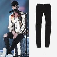 2017 angst Gottes knöchel reißverschluss zerrissenen jeans Justin Bieber schwarz dünne destoryed männer jeans streetwear Kanye West