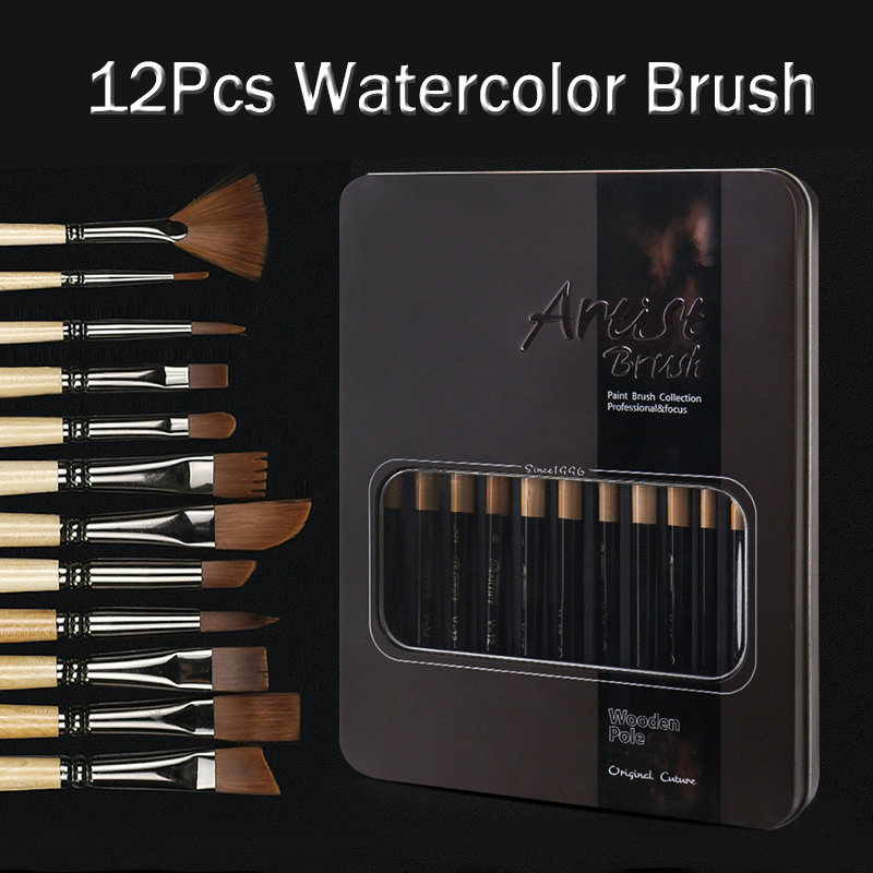 12pcs nylon hair watercolor art brush for gouache paint Pen Paint Painting Tools Paint Brush Set brushes art supplies|Paint Brushes| |  - title=