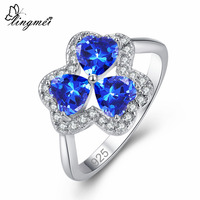 lingmei Dropshipping Clover Jewelry Heart Cut Blue & Multicolor & White Zircon Silver Ring Size 6 7 8 9 Wedding Gifts