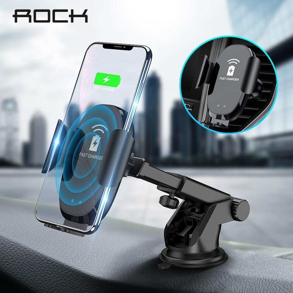 ROCK 10 Automático Infravermelho W Qi Sem Fio Rápida Carregador de Telefone Do Carro Para O iphone X 8 XR Huawei Samsung Automático Inteligente fixação