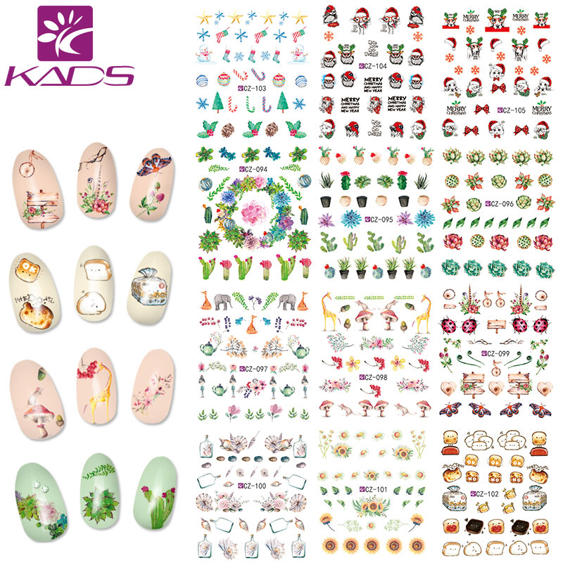 11 sheet Water Transfer Foil Nail Art Sticker Christmas Snowflake Cat & cactus & fruit design Manicure Decor Decals Nail Tools art