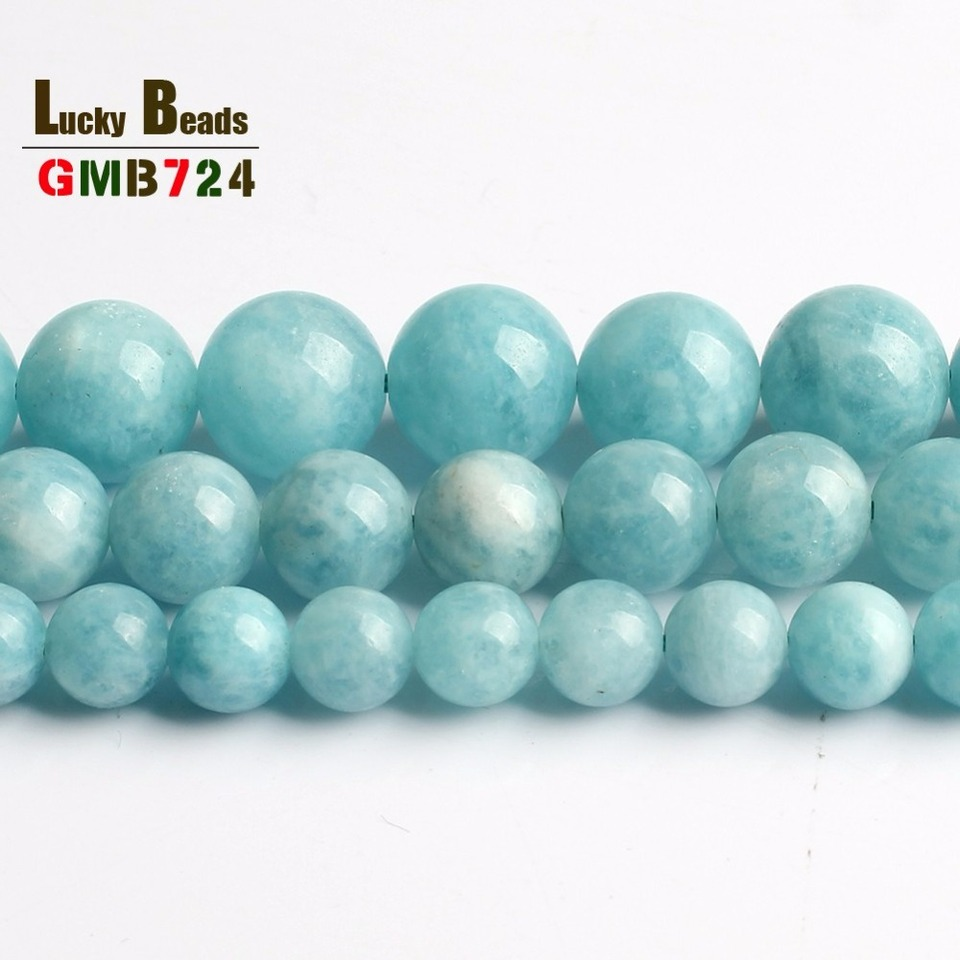 Gradated Aquamarine Gemstone Faceted 16mm-6mm Round Necklace  Loose Beads 19 inch Full Strand 90147591-278