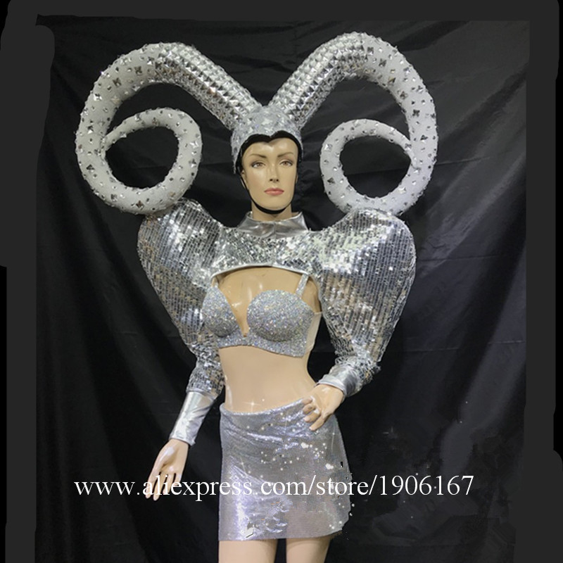 Ballroom dance stage show costumes dj party singer dresses horn silver mirror outfit clothes vest model bikini performance0