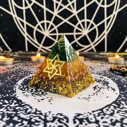 AURAREIKI Orgonite Пирамида марипура чакра натуральный цитрин Габриэль для увеличения творческой смолы зеленый кристалл украшения C0162