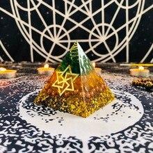 Orgonit Piramidi Maripura Çakra Doğal Citrine Gabriel Geliştirmek Yaratıcı Reçine Yeşil Kristal Takı Dekorasyon C0162