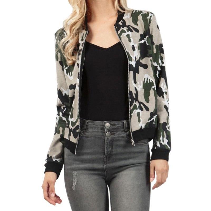 Efinny Autumn Winter Camouflage Casual Slim Women Basic Coat Zipper