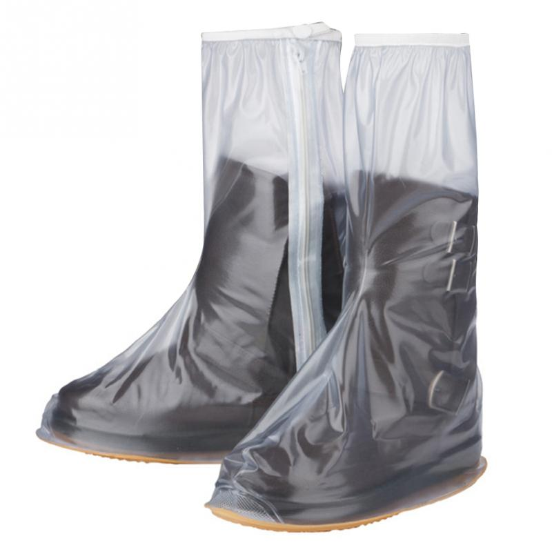 Unisex PVC Motorcycle Waterproof Rain Shoes Covers Thick High-Top Shoe Protector Impermeable Non-slip Boots Rain Covers цена