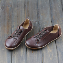 Hand-made Women Shoes Flat 100% Authentic Leather Round toe Lace up Ladies Shoes Flats Woman Moccasins Female Footwear (5188-6)