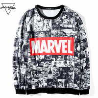Aelfric Eden Marvel Sweatshirts Man Women Round Neck Hoodies Comic Japanese Nime Letter Printed Kpop Casual