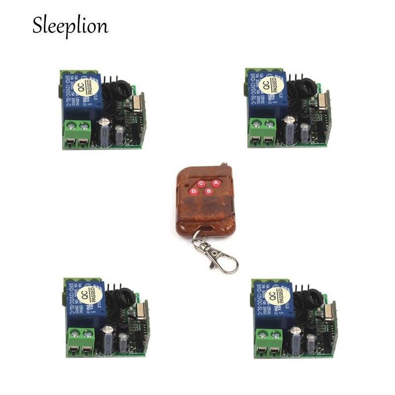 Sleeplion 433Mhz/315MHz Wireless Remote Control Switch DC 12V 1CH relay Receiver Module and RF Transmitter Remote Controls qiachip 4pcs rf transmitter 433 mhz remote controls 433mhz wireless remote control switch dc 12v 1ch rf relay receiver module