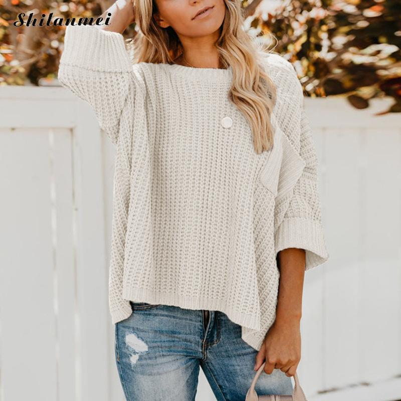 2019 Autumn Women <font><b>Sweaters</b></font> And Pullovers High Street Pocket <font><b>3/4</b></font> <font><b>Sleeve</b></font> Casual <font><b>Sweater</b></font> Loose Solid White Knitted Sweter Mujer image