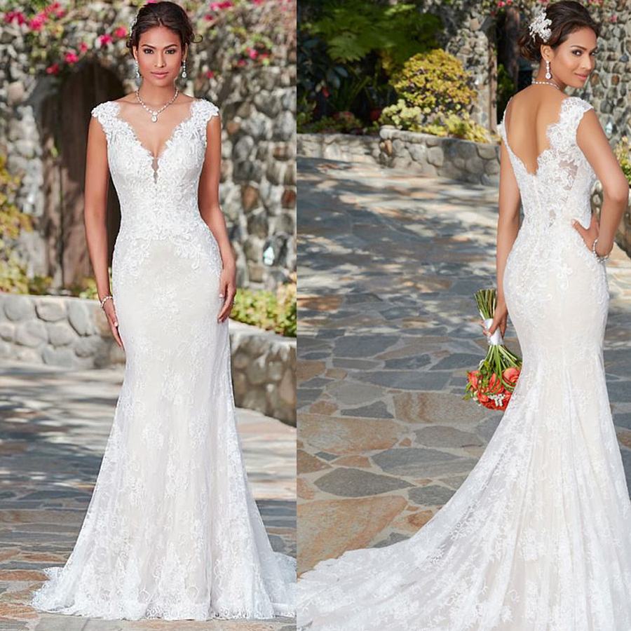 Elegant V-neck Tulle Neckline Mermaid Wedding Dress With Applique Full Lace Sweep Train Zipper Back Bridal Dress