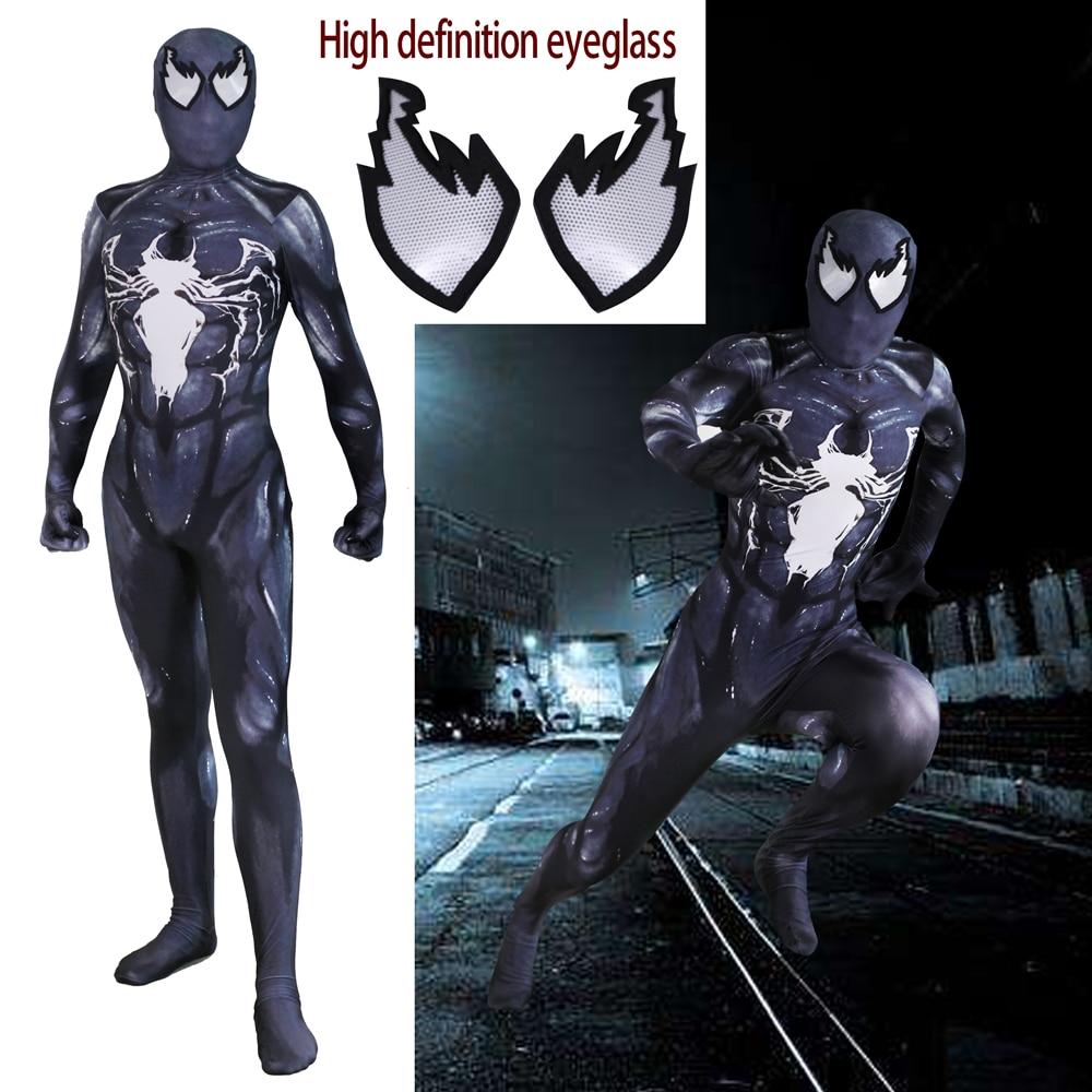 Venom Edward Brock Cosplay Costume Zentai Black Spider Man Pattern Bodysuit Suit Jumpsuits