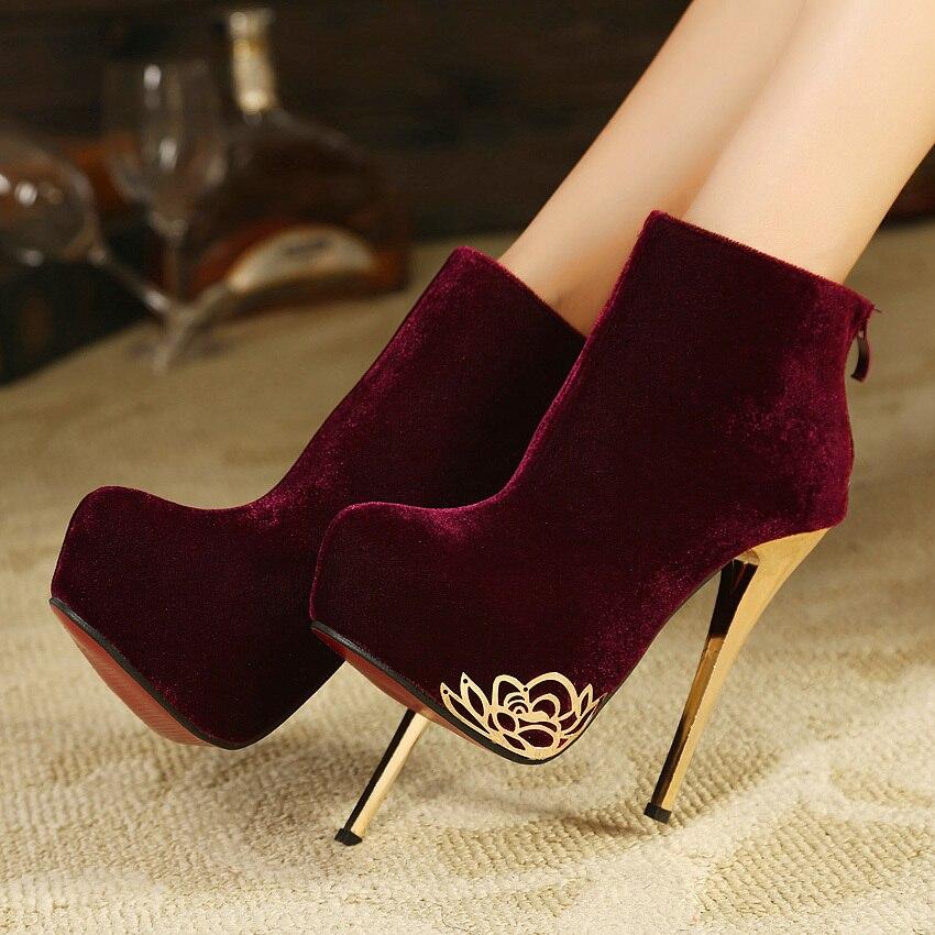 525aadf4d36 winter ol elegant platform stilettos red bottoms high heels boots ...