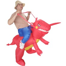 Dinosaur Rider T-Rex Inflatable Blow Up Costume Halloween Purim Fancy Dress for Birthday Carnival Cosplay Party Sports Meeting