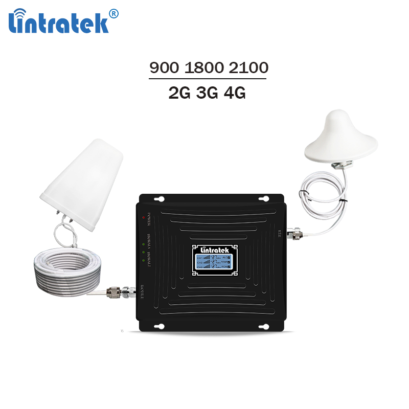 Lintratek New Tri band Repeater 900 1800 2100Mhz Signal Booster GSM 3G Repeater 4G LTE Booster