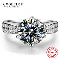 Ring Silver 100 Pure 925 Sterling Silver Ring Set Luxury 2 Carat CZ Diamond Wedding Rings