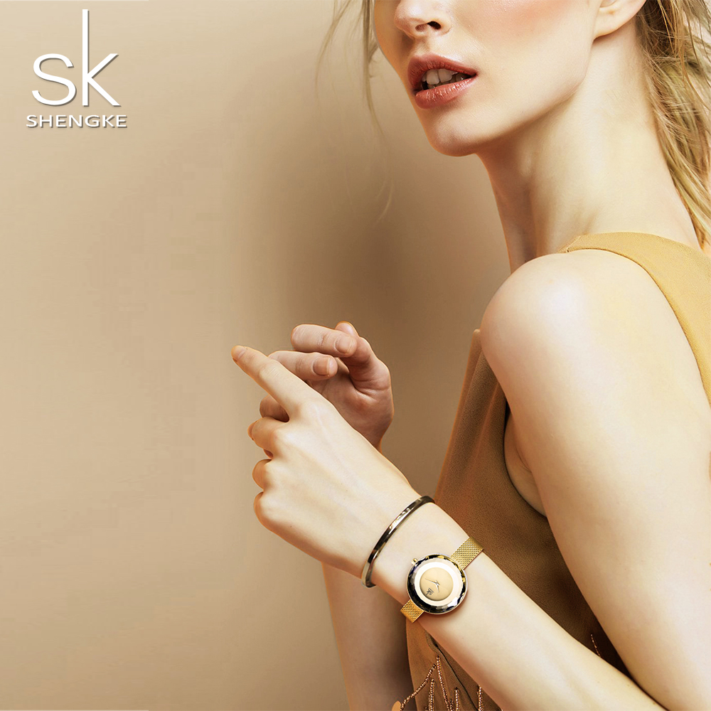 Image 2 - Shengke модные роскошные женские часы Призма Fac золото сталь сетка кварцевые женские часы Лидирующий бренд часы Relogio Feminino-in Женские часы from Ручные часы on AliExpress - 11.11_Double 11_Singles' Day