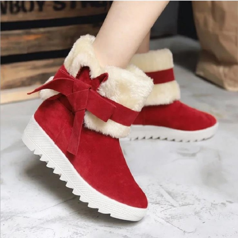 2018 NEW DIXINYILI Women's booties, bow-tied round head cotton boots. Thick-ground milled cotton boots for women