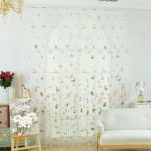 лучшая цена Curtain 2017 New Product 100 cm X270 cm Green Grass Butterfly Flower Tulle Curtain For New Style Living Room Bedroom Decoration