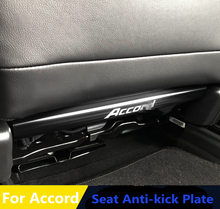 Interior Rear Seat anti-kick plate anti-scratch pad wire drawing stainless steel trim 2pcs For Honda Accord 10th