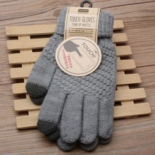 Winter Autumn Men Knitted Gloves Touch Screen High Quality Male Thicken Warm Wool Cashmere Solid Gloves