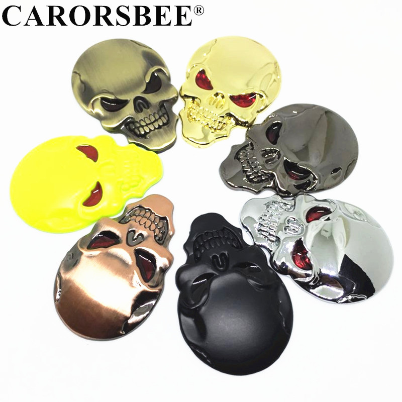 3D Skull Zinc Alloy Metal Car Motorcycle Sticker Skeleton Emblem Badge Decal Auto Accessories Gold Black silver Gun 7 color Стикер