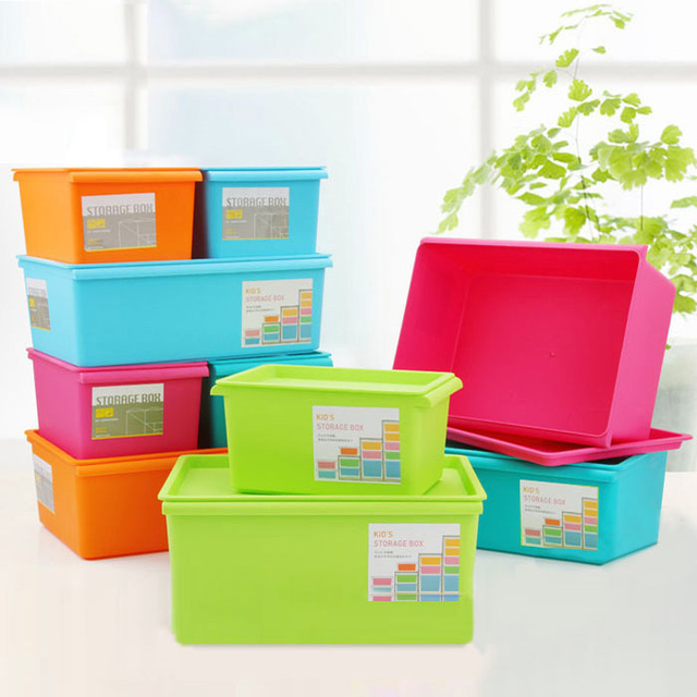 Sundries Plastic Storage Box Candy Color Cover Stacking Storage Bins  Colorful Fashion Thickening Box