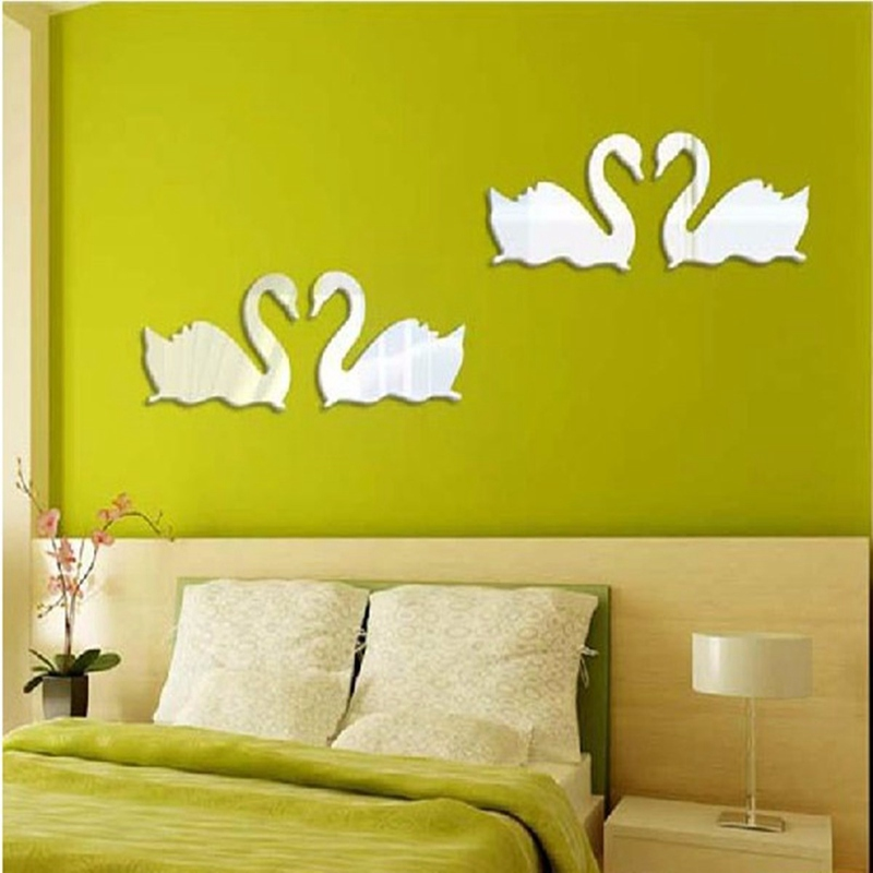 Special offer double silver swan design 3d mirror diy wall for Style at home special offer