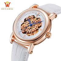 OUYAWEI Female Clock Pure White Skeleton Dial Ladies Mechanical Watch Rhinestone Wristwatch 42mm Big Case relojes mujer saat