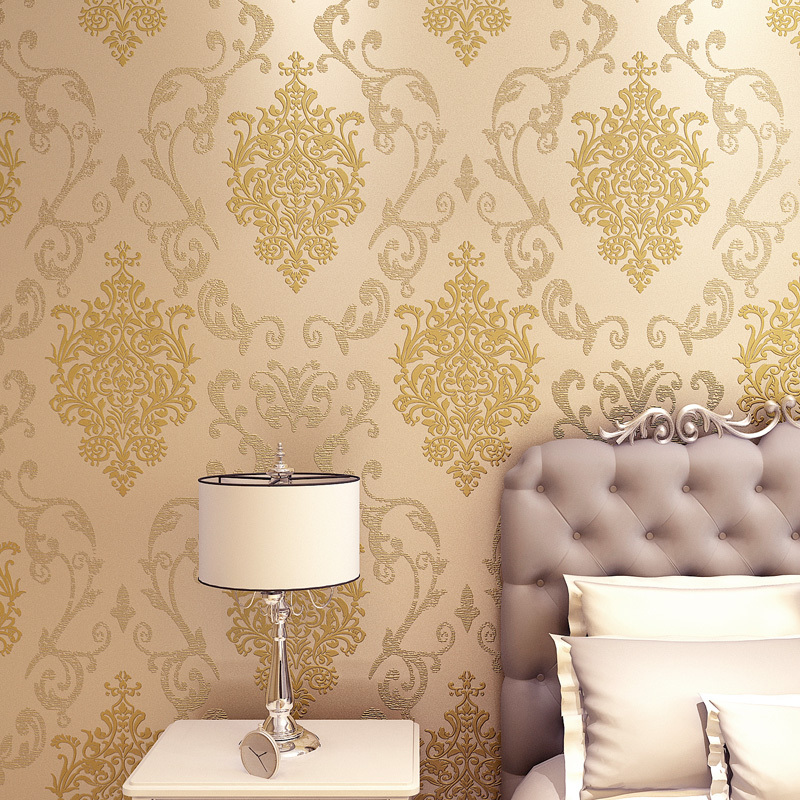 luxury european flock non woven metallic floral damask wallpaper design modern vintage wall paper textured