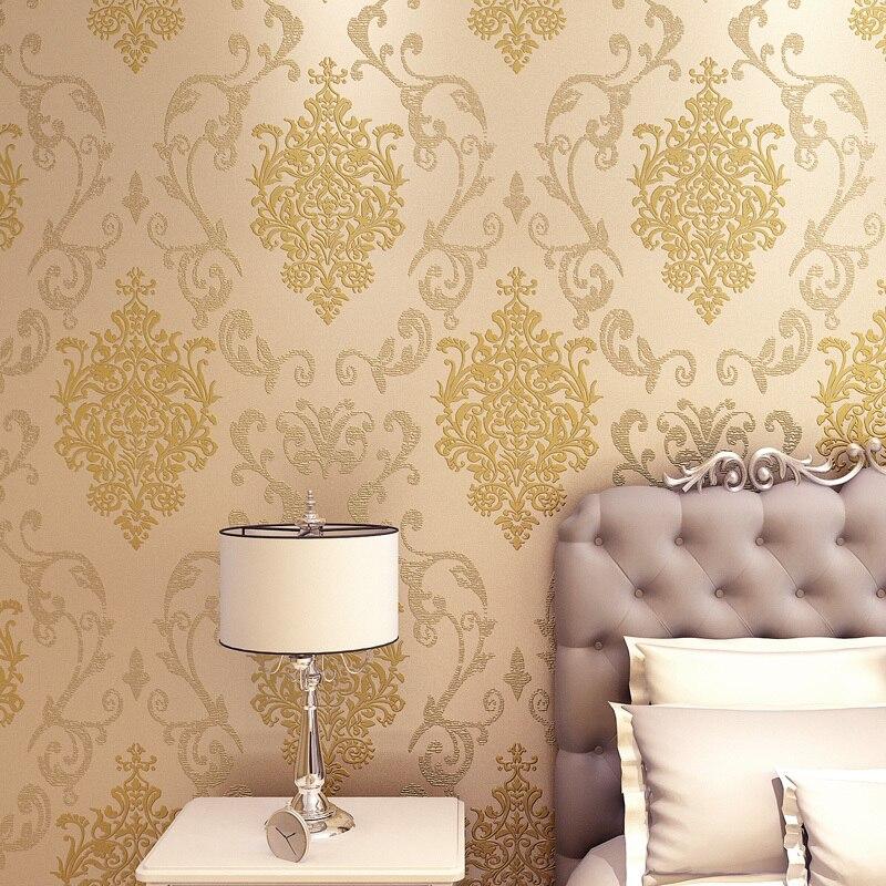luxury european flock non woven metallic floral damask wallpaper design modern vintage wall paper textured