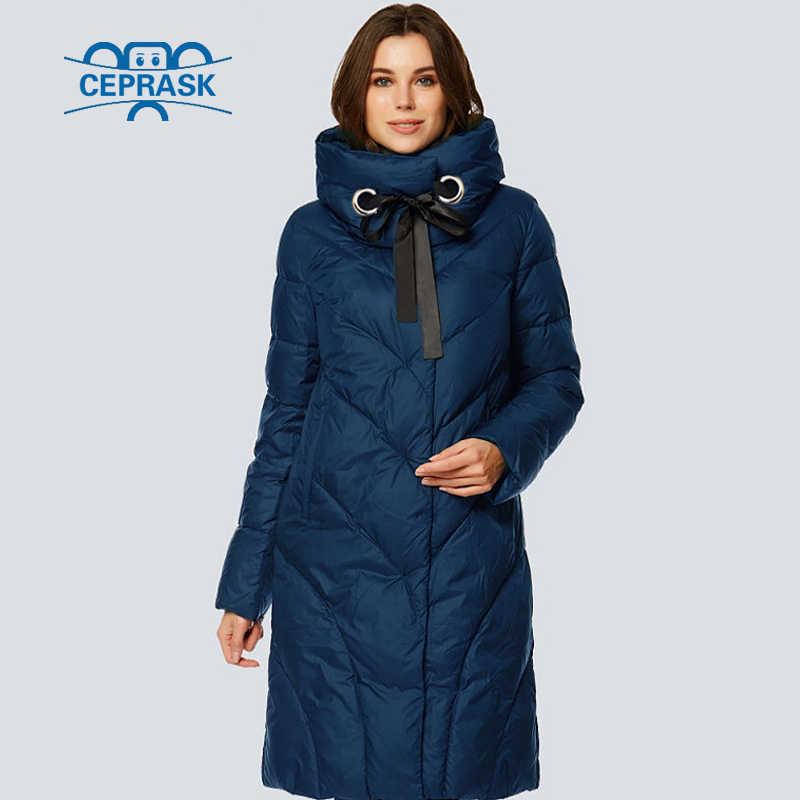 CEPRASK 2018 высокое качество новая зимняя куртка женские парки Большие размеры длинные модные теплые женские зимние пальто с капюшоном пуховая куртка