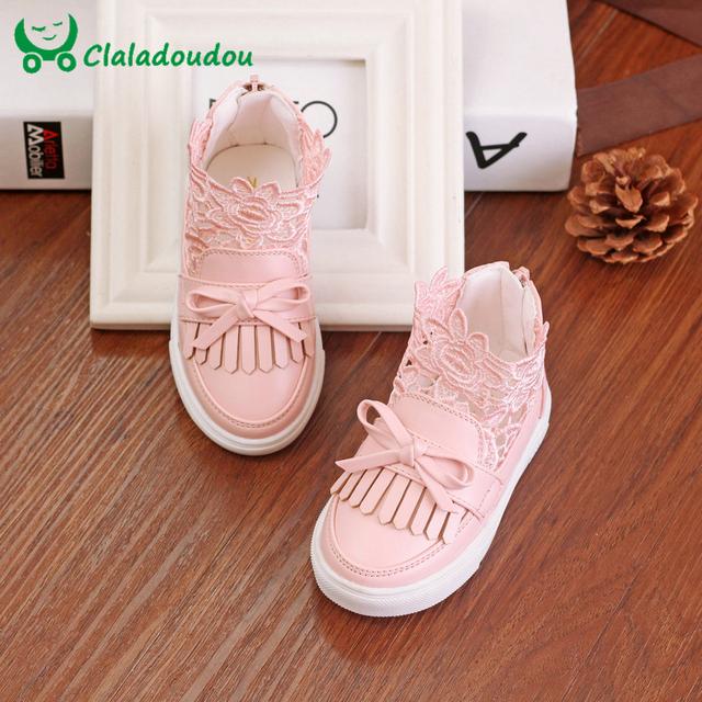 Zapatos de Bebé del Otoño del Resorte Zapatos de Lona de La Manera de Encaje de Flores Niña Recién Nacido Andador Infantil Calzado Casual Para 0-3 años de Edad