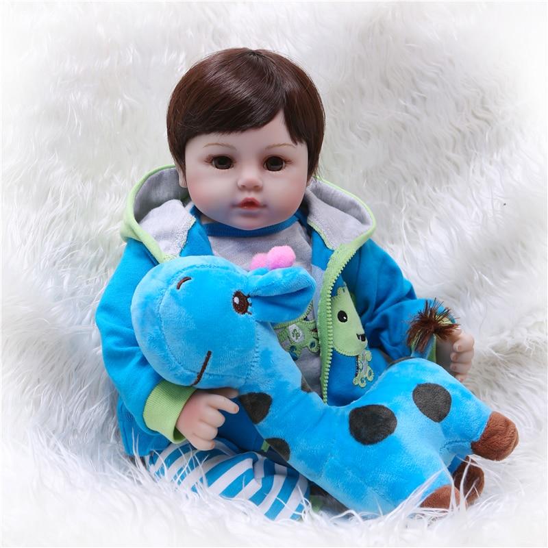 NPK 19''Handmade vinil Silicone adorável Lifelike boneca reborn Bonecas menino miúdo da criança Do Bebê bebe de menina de silicone