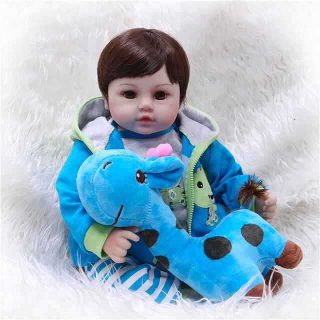 Npk 19handmadeシリコーンビニール愛らしいリアルな幼児bonecas少年子供ベベ人形リボーンmeninaデシリコーン