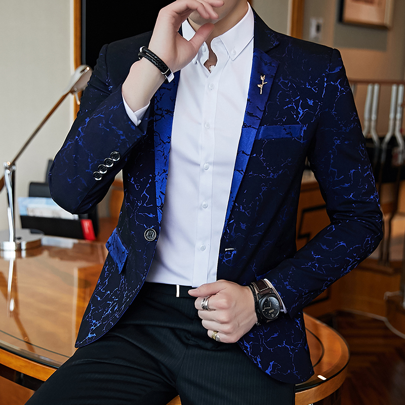 Luxury Party Prom Blazer Wine Red Blue Black Jacquard Casual Suit Jacket Slim Evening Dress Fashion Men's Wedding Suit Jacket