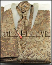 wedding formal wear man's gold floral  waistcoat (waistcoat+ascot tie+cufflinks+handkerchief)