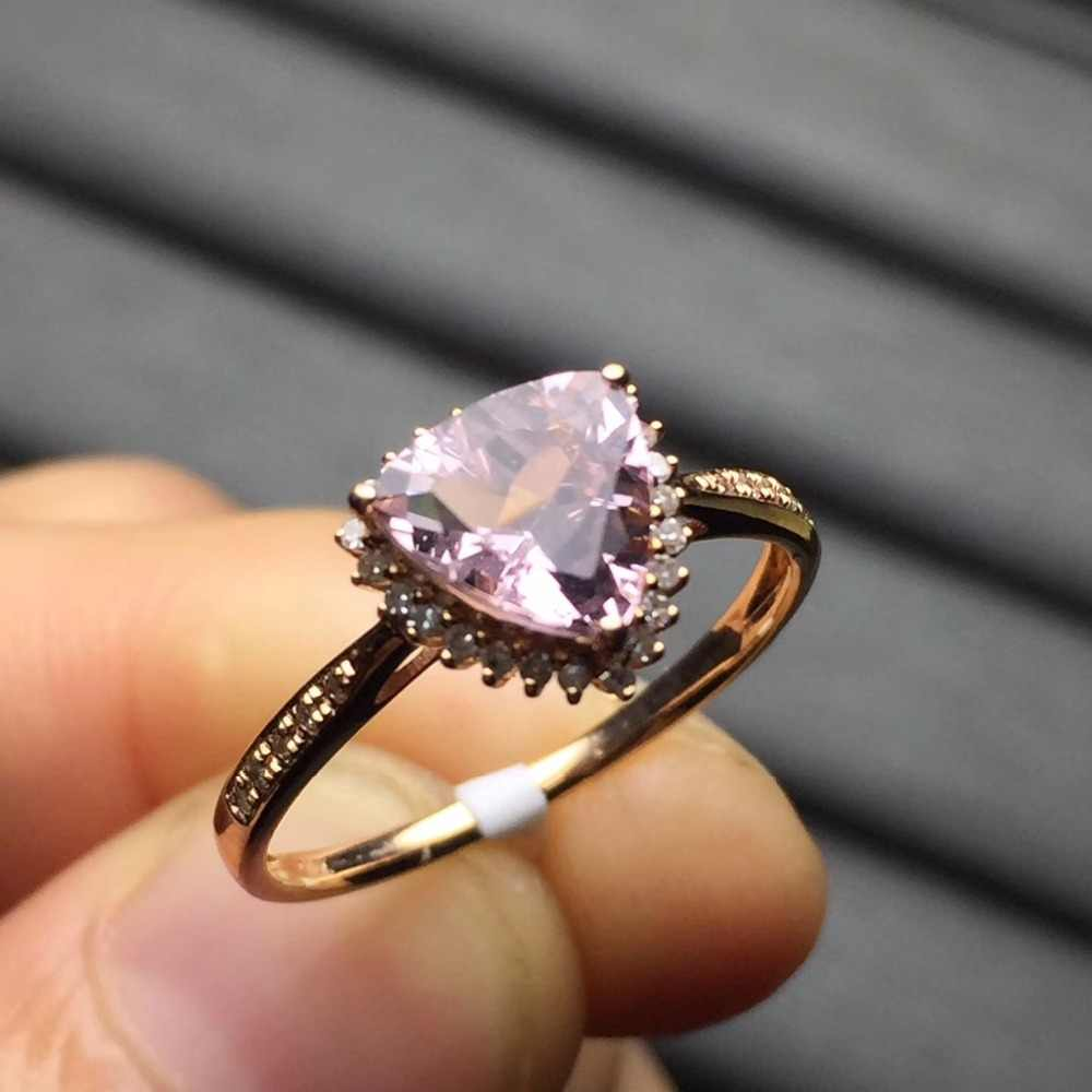 Fine Jewelry Customized Real 18K Rose Gold 100% Natural Pink Beryl Heliodor Morganite Gemstone Jewellery for women Fine Ring