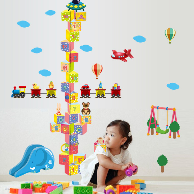 Spacecraft Design Pvc Plane Wall Sticker With Diy Height Chart And