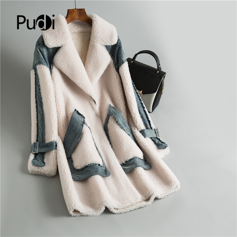 Winter Casual Women 30% Real Wool Fur Coat Denim Piece Button Warm Jacket Sheep Shearing Girl Lady Long Jacket Overcoat OMS04