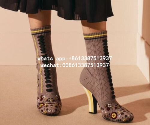 2017 Spring New Fashion Women European Style Knit Wool Lace Up Strange Heel High Heel Mid-calf Short Boots Big Size 43