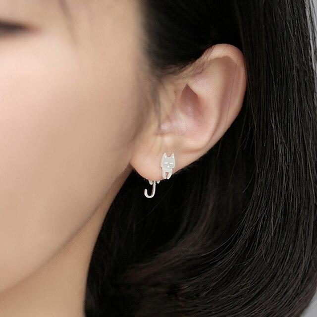 100% 925 Sterling silver Sweet cat fish stud earrings 3